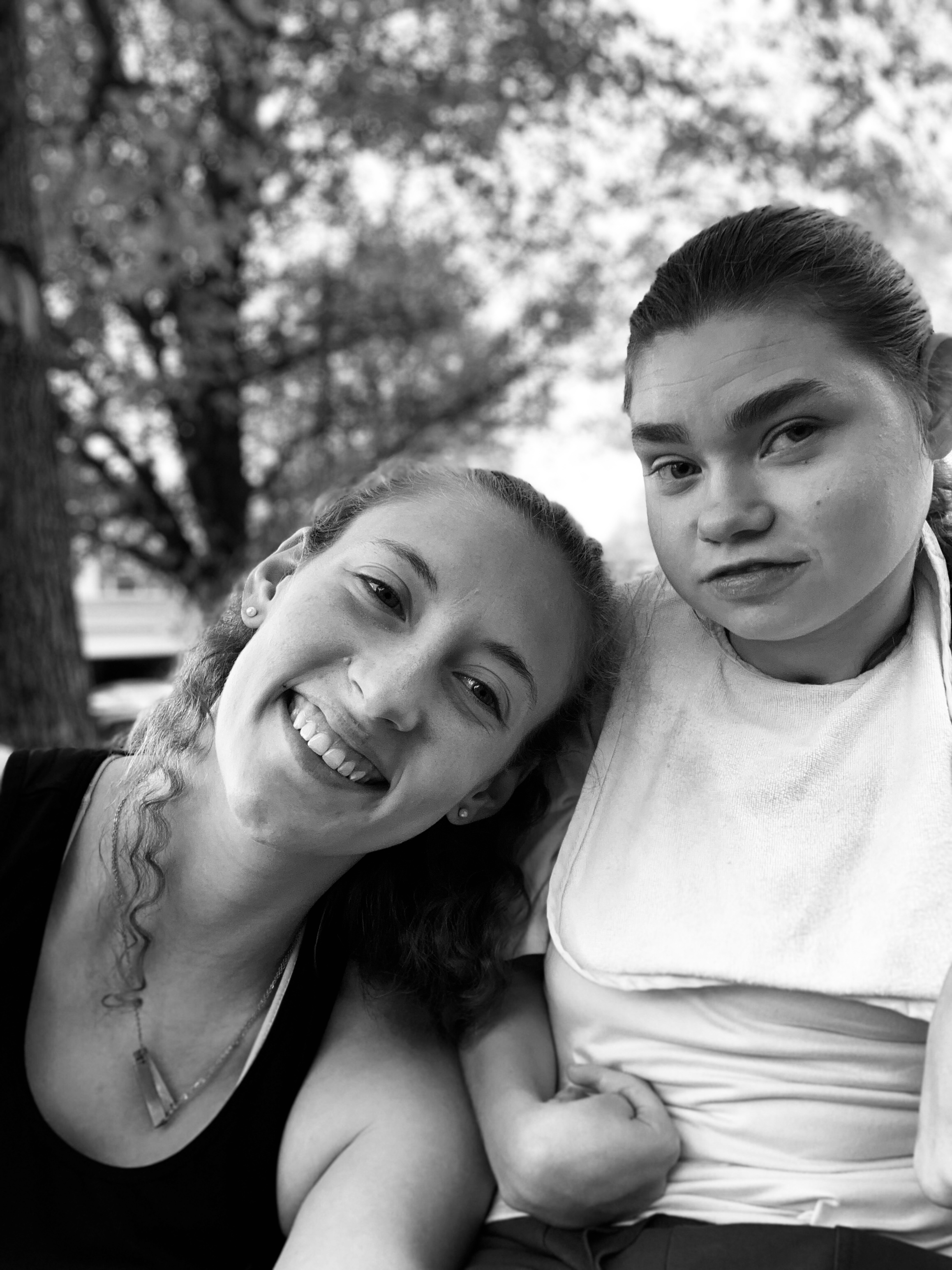 Amy and Kyia smiling at camera